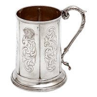 Antique Silver Plate Christening Mug with a Cast Scroll and Leaf Handle