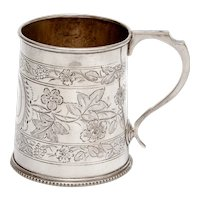 Antique Silver Plated Christening Mug with Floral Scenes