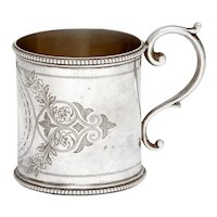 Victorian Sterling Silver Christening Mug Engraved with Floral Scenes