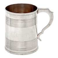 Victorian Sterling Silver Christening Mug with a Reeded Banded Plain Body