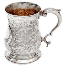 George III Sterling Silver Baluster Shape Christening Mug with a Cast Scroll Handle