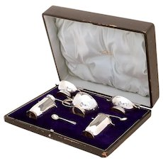 Edwardian Sterling Silver Eight Piece Boxed Condiment Set