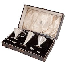 Vintage Boxed Sterling Silver 3 pc Condiment Set