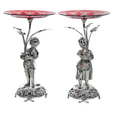 Antique Silver Plate Boy and Girl Comports with Engraved Ruby Red Dishes