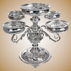 Huge Victorian Silver Plate Epergne with Five Hand Chased Bowls