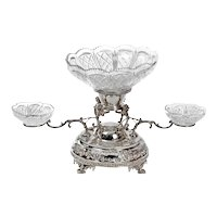 Victorian Silver Plate Centrepiece with Cut Glass Dishes and Four Gargoyles