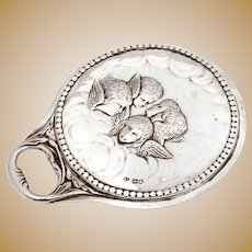 William Comyns Sterling Silver Hand Mirror Decorated with Reynolds Angels