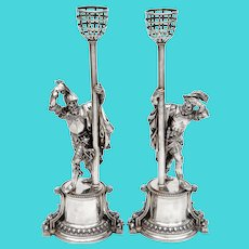 Exceptional Pair of Antique Elkington Silver Plate Cavaliers
