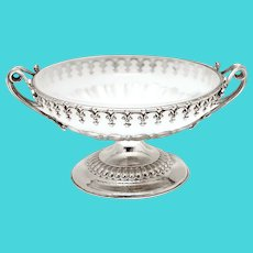 Victorian Silver Plated Comport Bowl with Original Opaque White Glass Liner