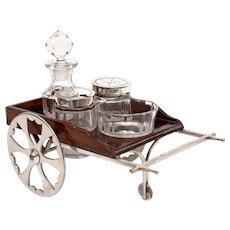 Novelty Victorian Silver Plate & Oak Cart Shaped Cruet Set