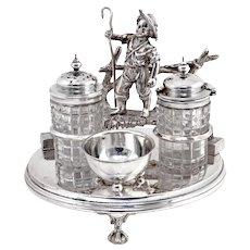 Victorian Shepherd Boy Silver Plate and Cut Glass Cruet Set