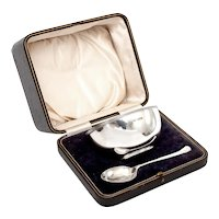 Antique Boxed Sterling Silver Christening Bowl & Spoon Set