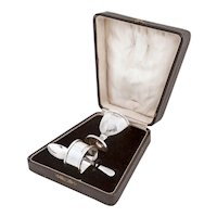 Plain Design Sterling Silver Three Piece Boxed Christening Set