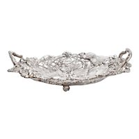 Antique Silver Plated Fruit Dish with Grape and Vine Border