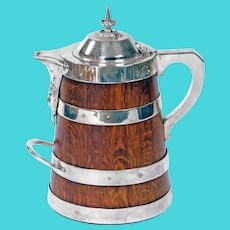 Large Oak and Silver Plate Beer or Water Jug