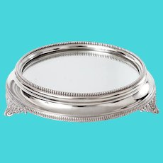 Antique Silver Plated Mirror Plateau Cake Stand