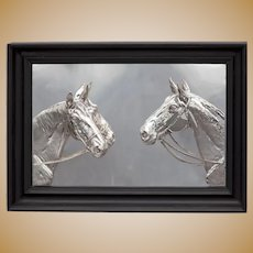 Silver Plated Framed Relief of Two Horses