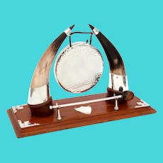 Cow Horn and Oak Decorative Gong with Silver Plated Corners