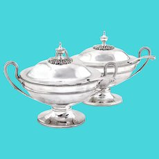 Pair of Elkington & Co Silver Plated Sauce Tureens and Ladles