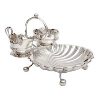 Silver Plated Scallop Shell Shaped Strawberry Stand with Sugar and Creamer