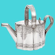 Antique Novelty Silver Plated Watering Can with Floral and Scroll Engraving