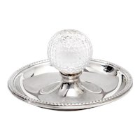 Vintage Golf Ash Tray in Silver Plate with a Central Glass Golf Ball
