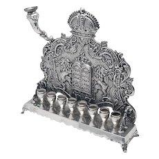 Old 925 Sterling Silver Hanukkah Menorah
