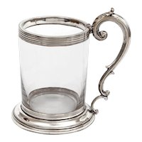 Antique Half Pint Mug with a Clear Glass Body and Silver Plate Mounts