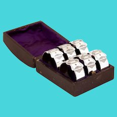 Late Victorian Set of Six Silver Plated Belt and Buckle Napkin Rings