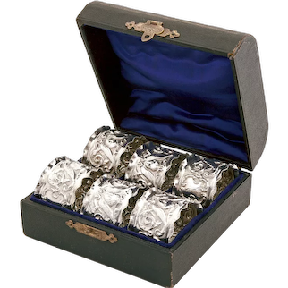 Set of Six Boxed Edwardian Sterling Silver Napkin Rings