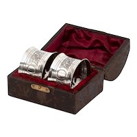 Victorian John Round Boxed Pair of Sterling Silver Napkin Rings