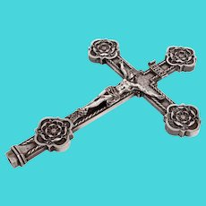 Antique Rose Tipped INRI Crucifix Cast in Silver Plated Copper