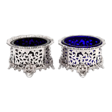 Pair of Elkington & Co Silver Plated Salts with Bristol Blue Glass Liners