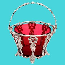 Antique Silver Plated Sugar Basket with a Red Cranberry Glass Liner