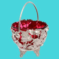 Silver Plated Sugar Basket with a Red Cranberry Glass Liner