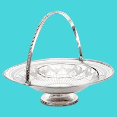Antique Silver Plated Basket with a Beaded Border and Swing Handle