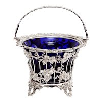 Large Victorian Silver Plated Sugar Basket with a Bristol Blue Glass Liner