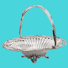 Victorian Oval Silver Plated Swing Handle Basket