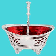 Silver Plated Boat Shaped Silver Basket with Cranberry Glass Liner