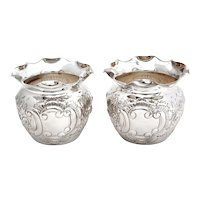 Pair of Victorian Globe Shaped Silver Plated on Copper Flower Pots