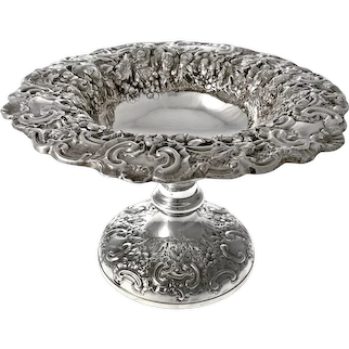 Ornate Antique Sterling Silver Hand Chased Centre Bowl