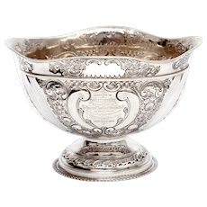 Late Victorian Sterling Silver Fruit Bowl Embossed with Scrolls and Flowers