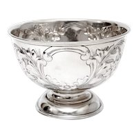 Edwardian Sterling Silver Rose Bowl Embossed with Flowers and Scrolls