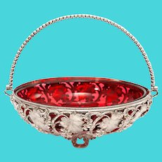 Victorian Silver Plated Basket with the Original Cranberry Glass Liner