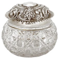 Late Victorian Sterling Silver Topped Dressing Table Jar with Pull Off Lid