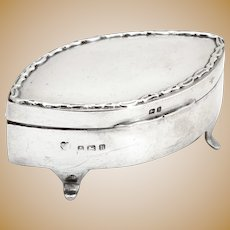 Edwardian Sterling Silver Jewellery Box with a Hinged Lid and Applied Cast Decorative Border