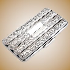 Victorian Gilt Lined Sterling Silver Four Section Cigar Case