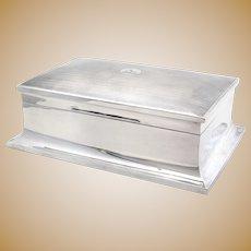 Antique Sterling Silver Cedar Lined Table Cigar Box