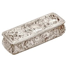 Decorative Edwardian Sterling Silver Trinket Box with a Hinged Lid and Floral Reposse Work