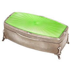 Enamel and Sterling Silver Gilt Jewellery Box with Pale Green Enameled Lid